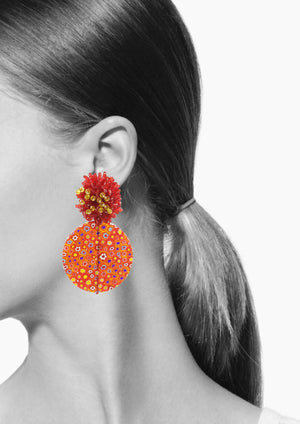 Millefiori Red Clip Earrings-Earrings-Jared Jamin Online-JARED JAMIN