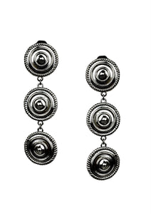 Minerva Black Clip Earrings