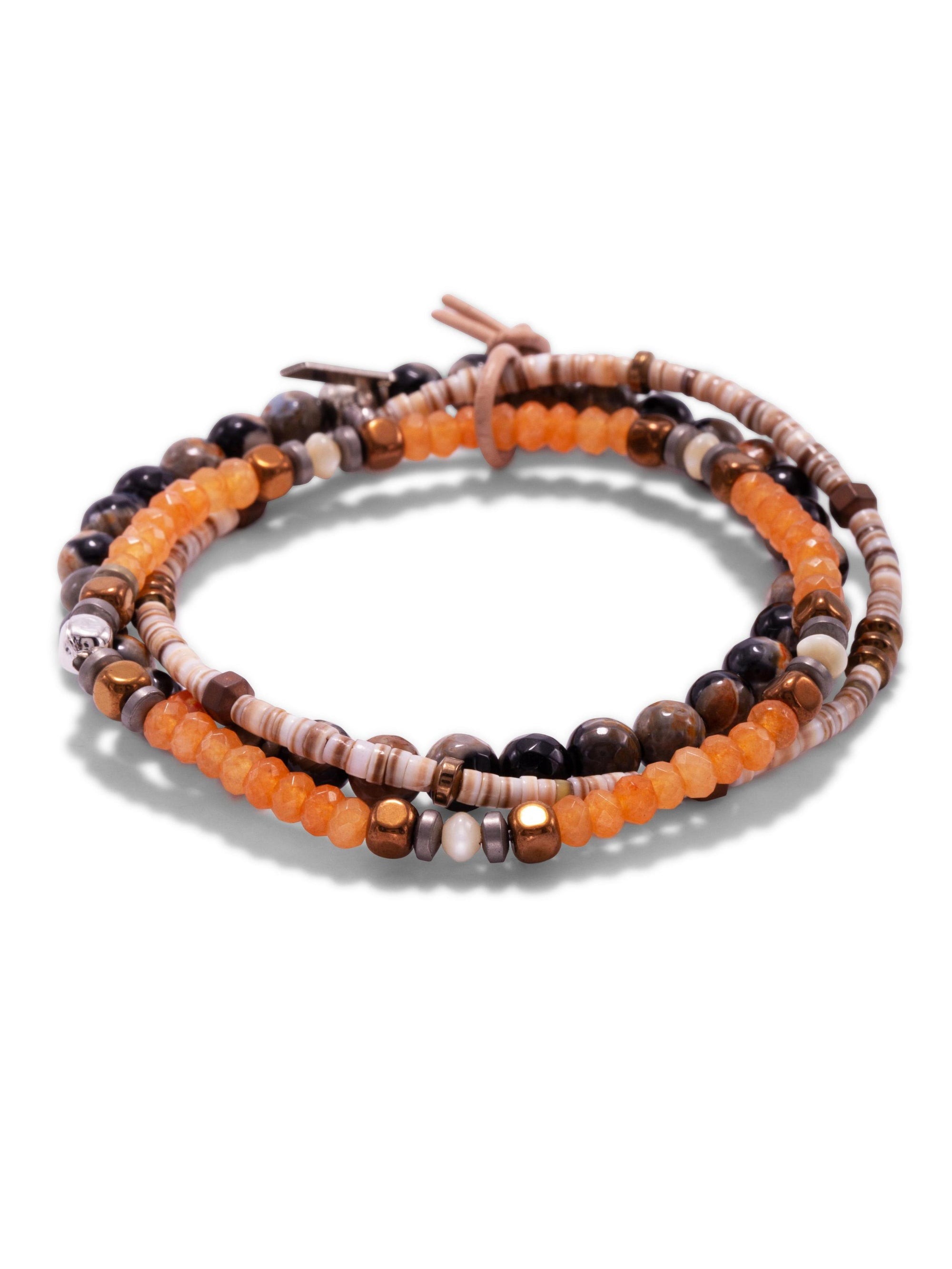 Orange Tiger Bracelet Set-Bracelets-JAREDJAMIN Jewelry Online-JAREDJAMIN - Fashion Jewelry & Accessories