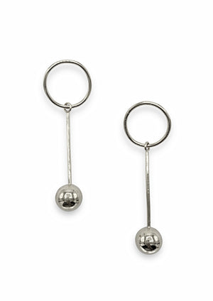 Orbita Pendulum Silver Earrings-Earrings-Jared Jamin Online-JARED JAMIN