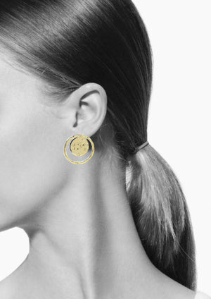 Gold Peacock Eye Post Earrings-Earrings-Jared Jamin Online-JARED JAMIN