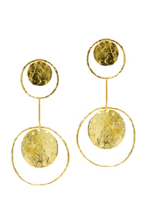 Gold Peacock Pendulum Clip Earrings-Earrings-Jared Jamin Online-18K Gold-JARED JAMIN