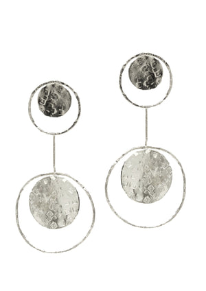 Silver Peacock Pendulum Clip Earrings-Earrings-Jared Jamin Online-White Rhodium-JARED JAMIN