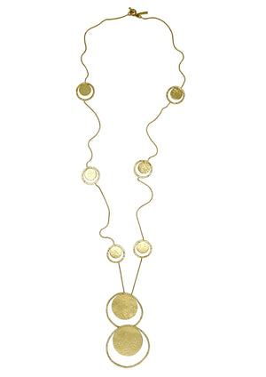 Gold Peacock Pendant Segmented Necklace-Necklaces-Jared Jamin Online-JARED JAMIN