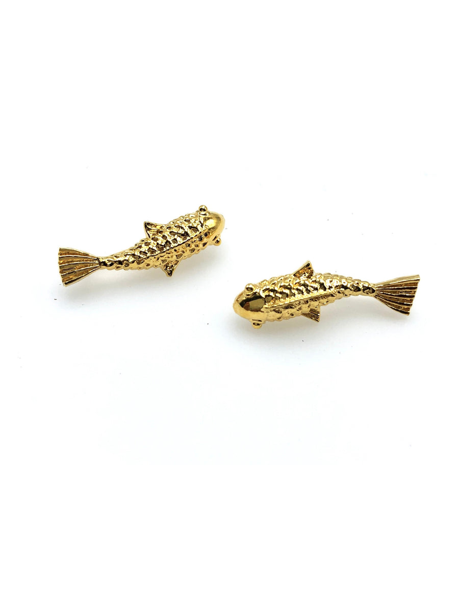 Gold Playing-Koi Fish Post Earrings