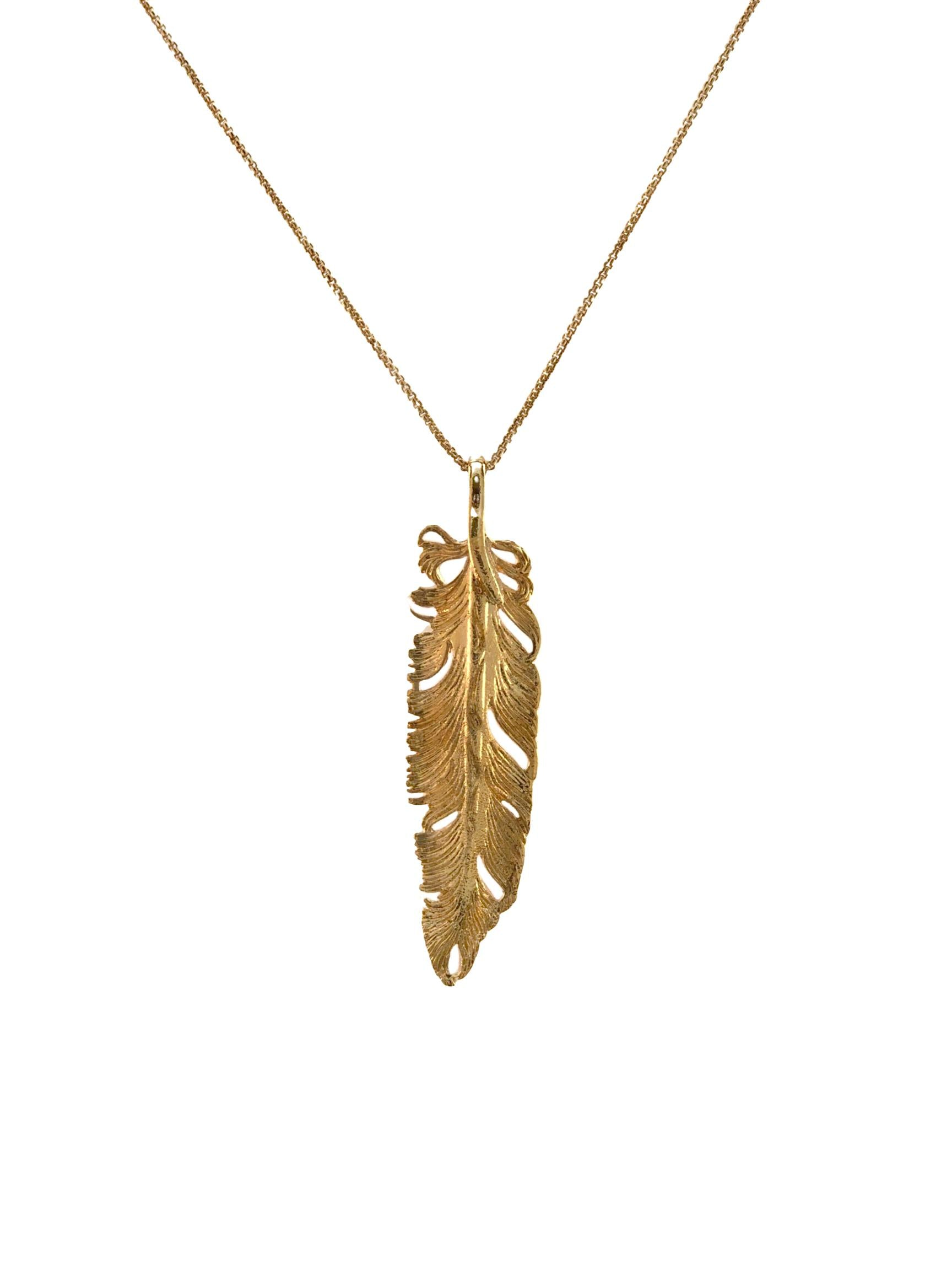 Gold Plume Pendant Charm-Pendant Charms-JAREDJAMIN Jewelry Online-JAREDJAMIN - Fashion Jewelry & Accessories