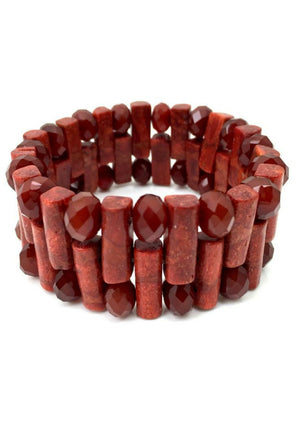 Red Rocky Road Stretch Bracelet-Bracelets-Jared Jamin Online-Red-JARED JAMIN