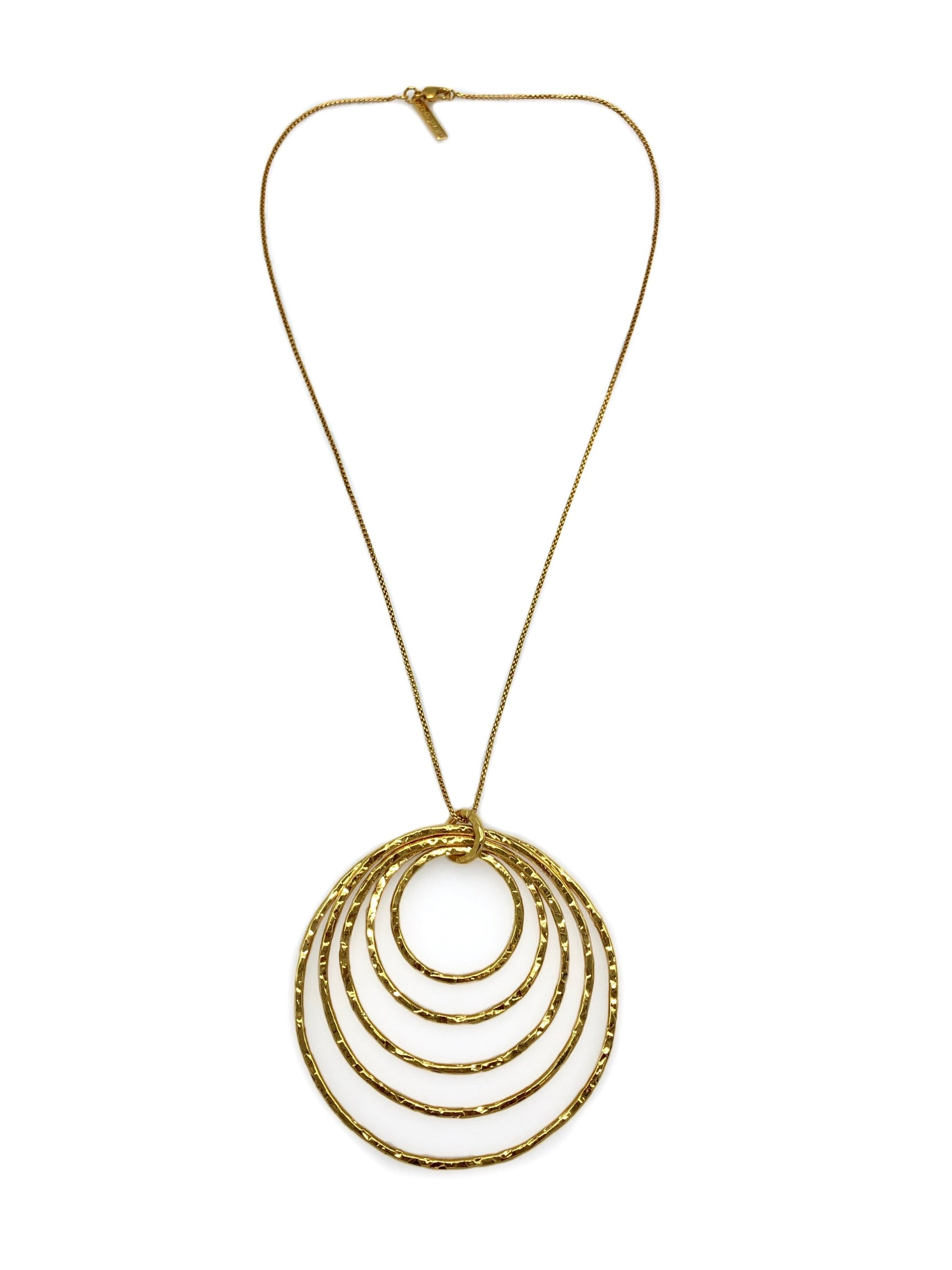 Ripple Textured Gold Pendant Necklace-Necklaces-JAREDJAMIN Jewelry Online-JARED JAMIN