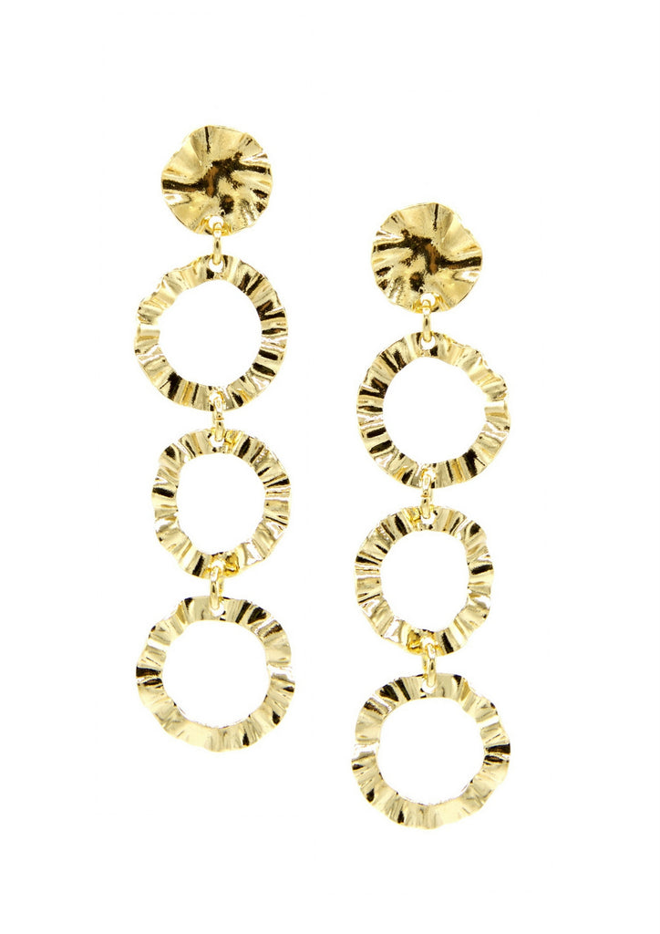 Ruffle Link Earrings-Earrings-Jared Jamin Online-Gold-JARED JAMIN