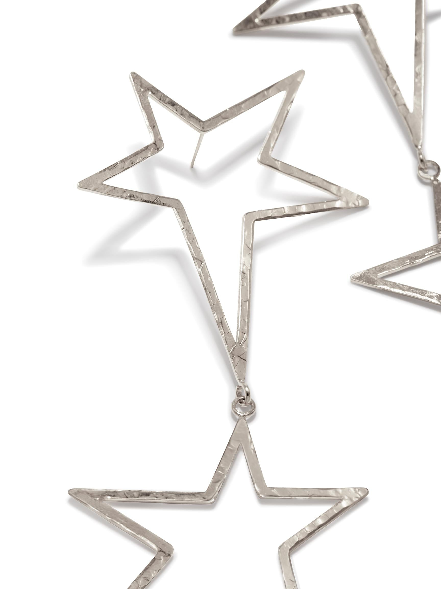 Silver Shooting Star Dust Dangle Earrings-Earrings-JAREDJAMIN Jewelry Online-JAREDJAMIN - Fashion Jewelry & Accessories
