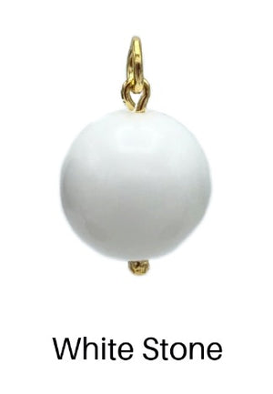 16MM Smooth Ball Pendant Charms-Pendant Charms-Jared Jamin Online-White Stone Ball Charm-JARED JAMIN