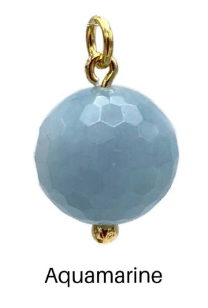 16MM Faceted Ball Earring Pendant Charms-Pendant Charms-Jared Jamin Online-Aquamarine Ball Charm-JARED JAMIN