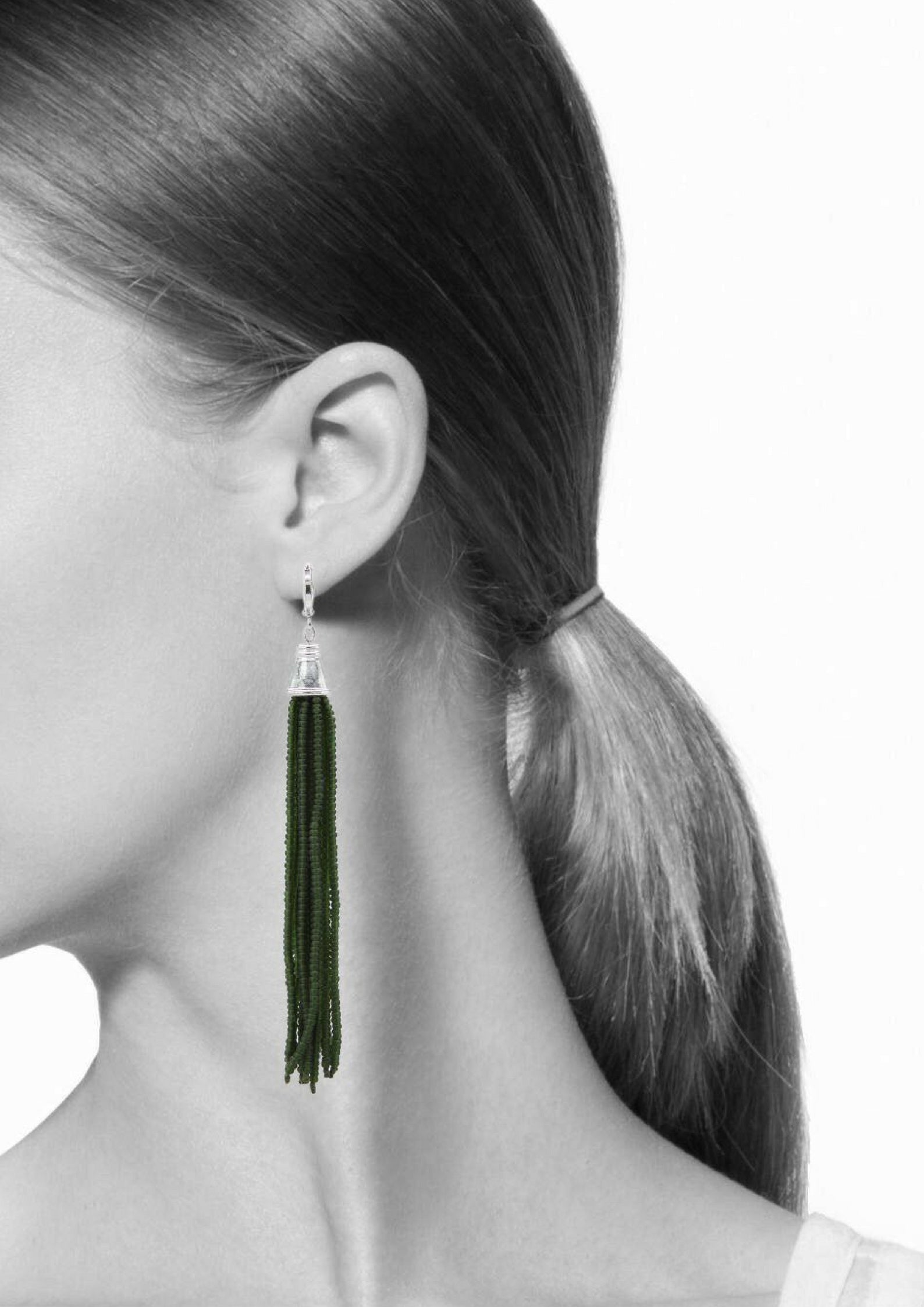 Shoulder Tickler Earrings-Earrings-Jared Jamin Online-Green-JARED JAMIN