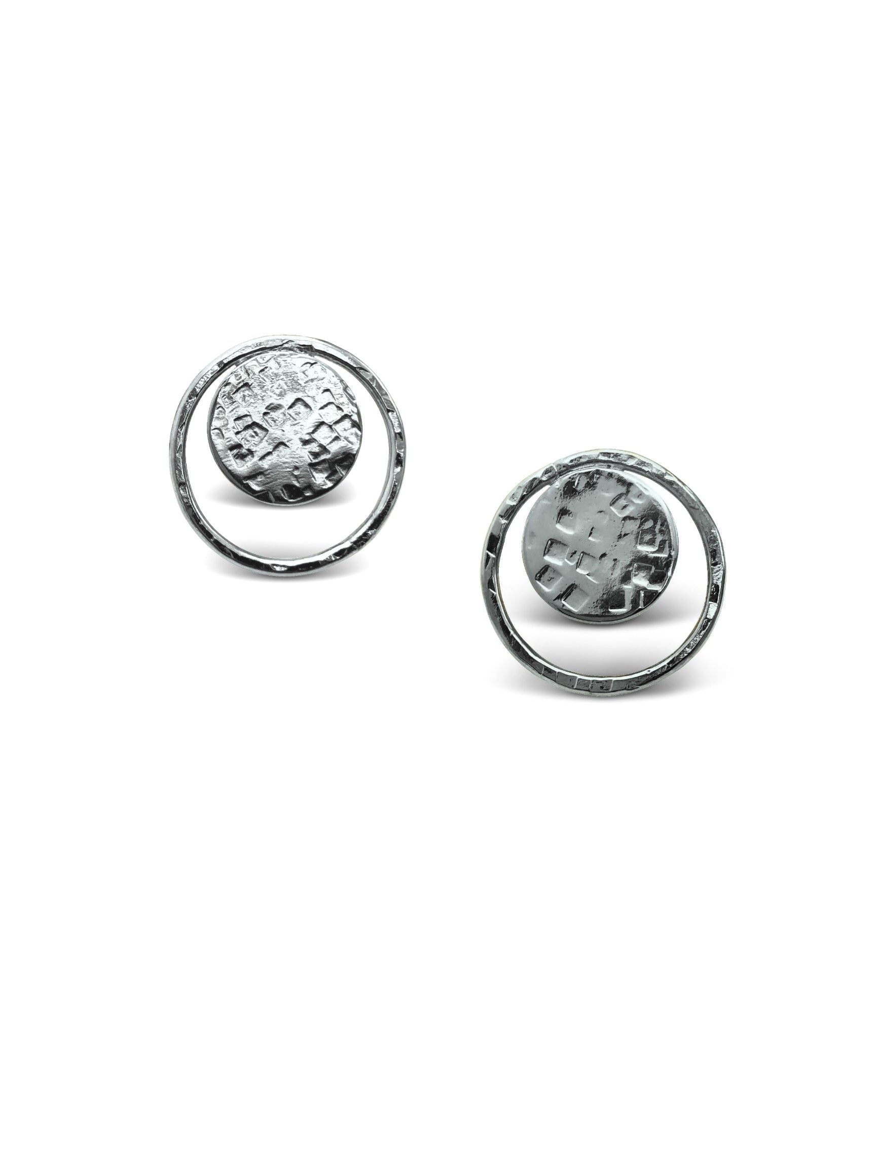 Silver Peacock Eye Clipon Earrings-Earrings-JAREDJAMIN Jewelry Online-JARED JAMIN