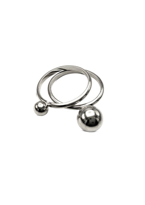 Small Orbita Double Silver Ring Stack-Womens rings-JAREDJAMIN Jewelry Online-5-JARED JAMIN