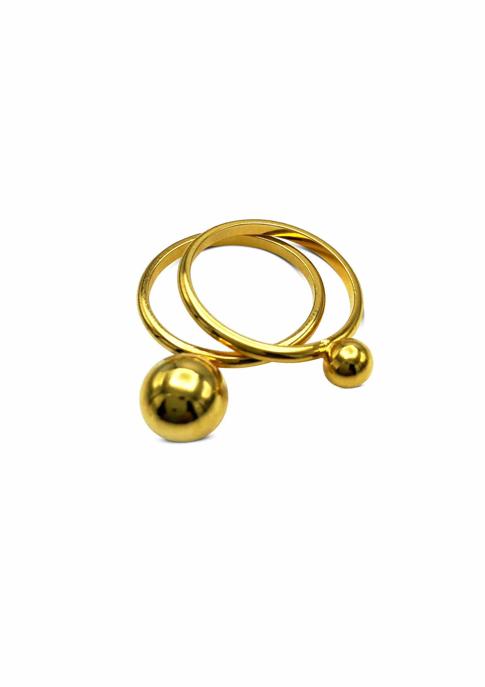 Small Orbita Double Gold Ring Stack-Womens rings-JAREDJAMIN Jewelry Online-5-JARED JAMIN