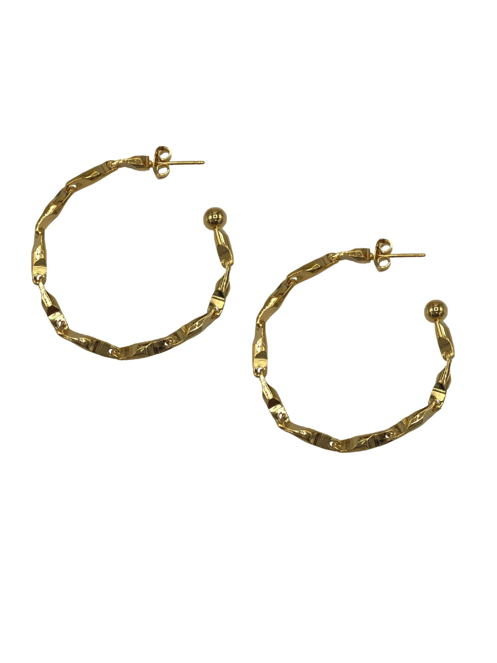Gold Rowan Chain Hoop Earrings-Earrings-JAREDJAMIN Jewelry Online-JAREDJAMIN - Fashion Jewelry & Accessories