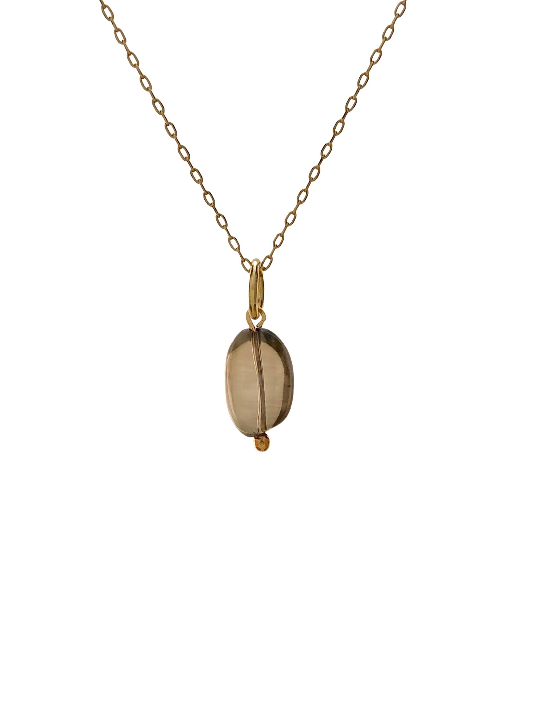 Smoky Quartz Pebble Necklace Pendant Charm-Pendant Charms-JAREDJAMIN Jewelry Online-JARED JAMIN