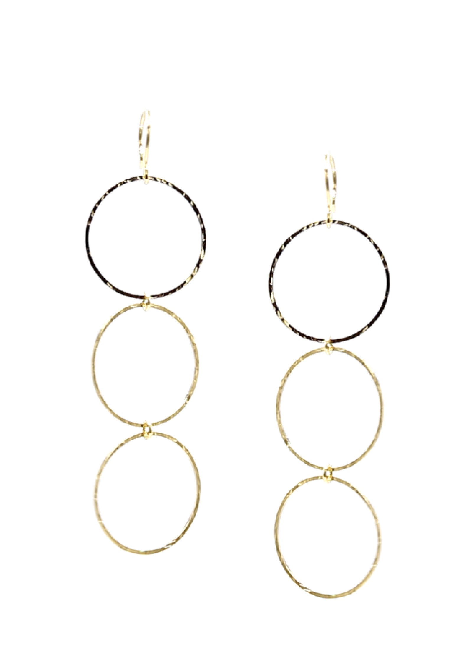 Gold Triple Halo Lindy Hoop Earrings-Earrings-JAREDJAMIN Jewelry Online-JARED JAMIN