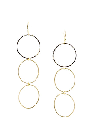 Gold Triple Lindy Hoop Earrings-Earrings-Jared Jamin Online-JARED JAMIN