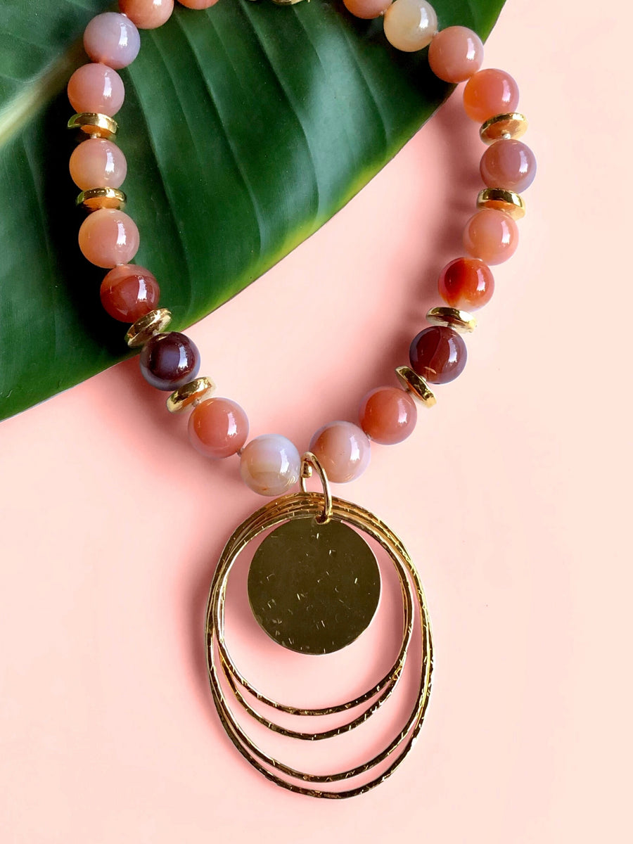 Peacock Dawn Pendant Peach Agate Necklace-Necklaces-Jared Jamin Online-JARED JAMIN
