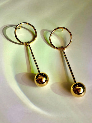 Orbita Pendulum Gold Earrings-Earrings-Jared Jamin Online-JARED JAMIN