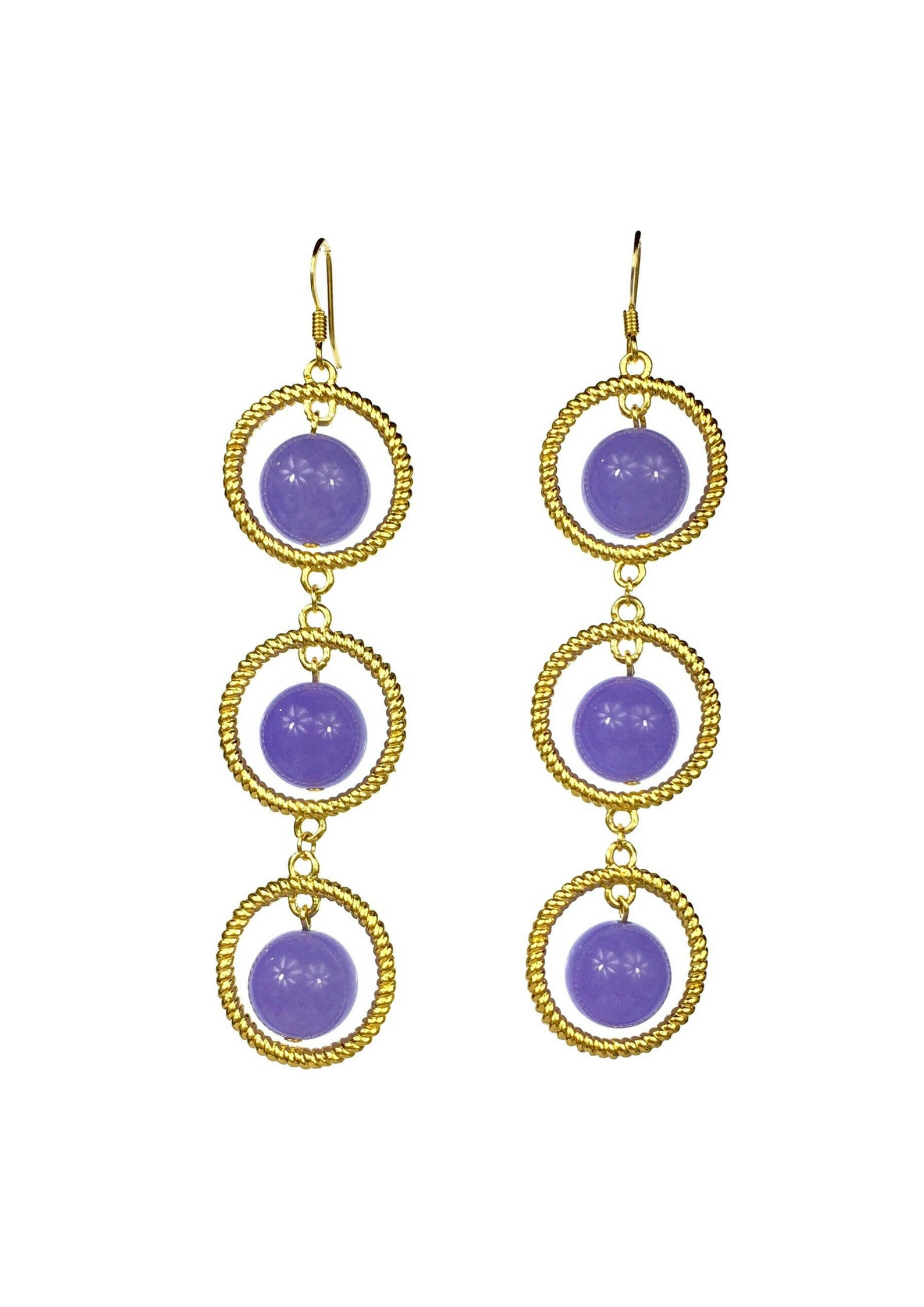 Lavender Orrery Hook Earrings-Earrings-Jared Jamin Online-Lavender/Gold-JARED JAMIN