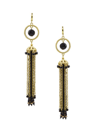 Vera Tassel Earrings-Earrings-Jared Jamin Online-Black-JARED JAMIN