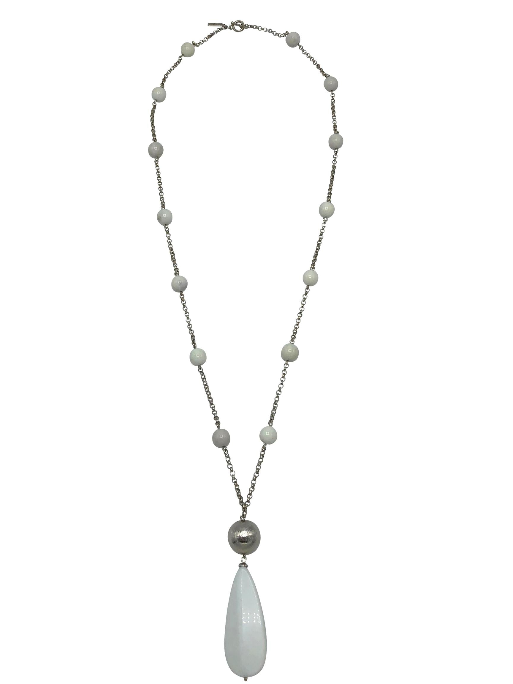White Stone Pendulum Necklace-Necklaces-JAREDJAMIN Jewelry Online-JARED JAMIN