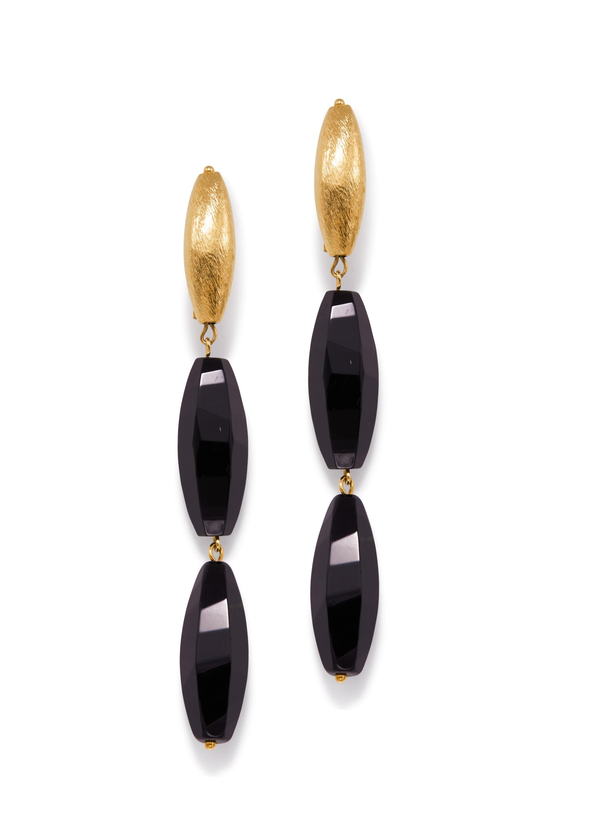 Zeppelin Gold Isla Onyx Post Earrings-Earrings-JAREDJAMIN Jewelry Online-Gold-JARED JAMIN
