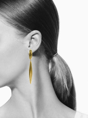 Zeppelin Isla Two Drop Gold Earrings-Earrings-Jared Jamin Online-JARED JAMIN