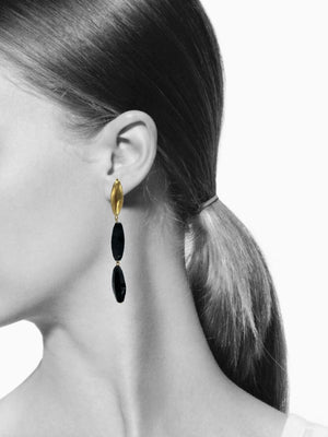 Zeppelin Gold Isla Onyx Clipon Earrings-Earrings-Jared Jamin Online-Gold-JARED JAMIN