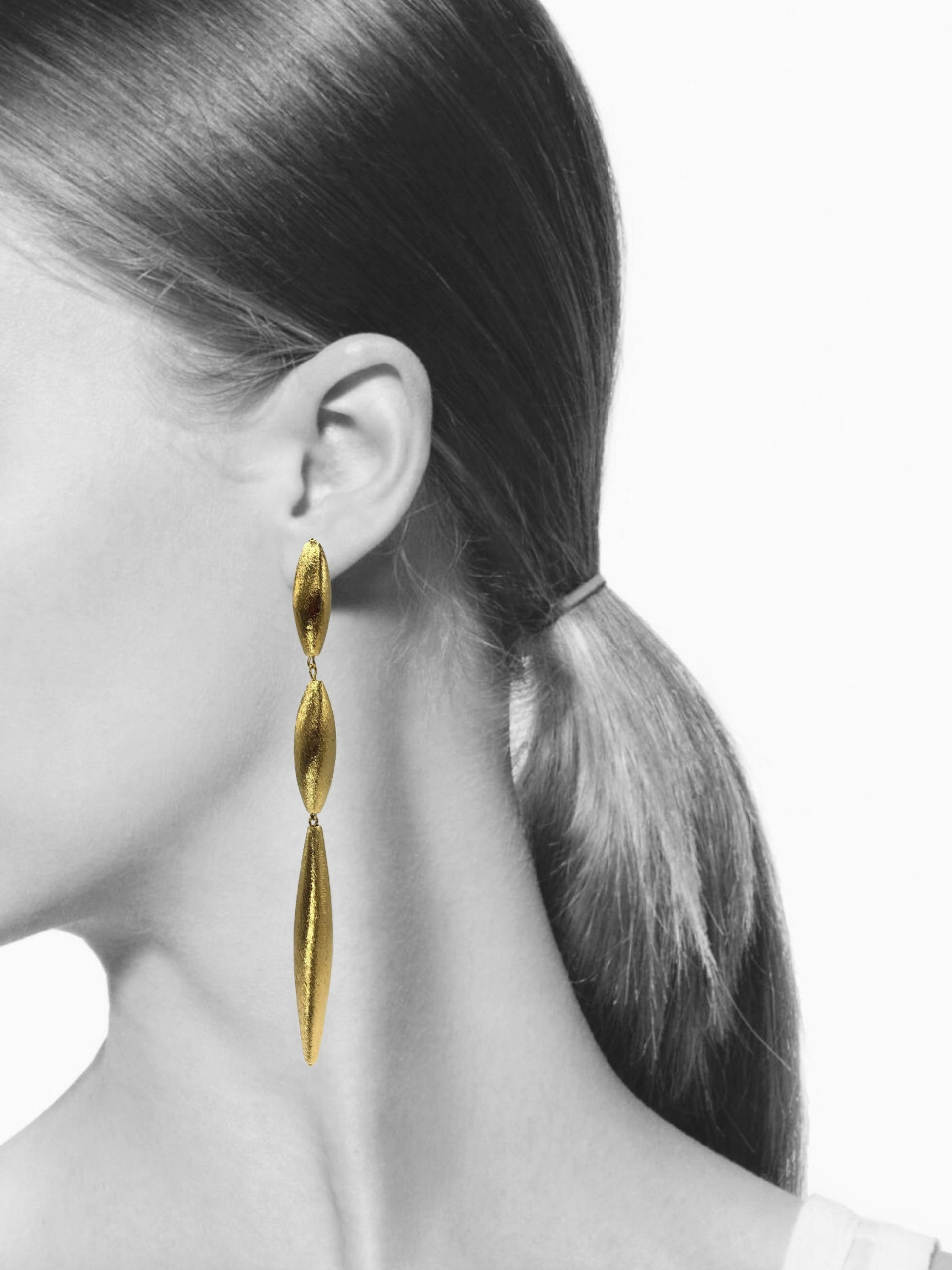 Zeppelin Isla Three Drop Gold Earrings-Earrings-JAREDJAMIN Jewelry Online-JARED JAMIN