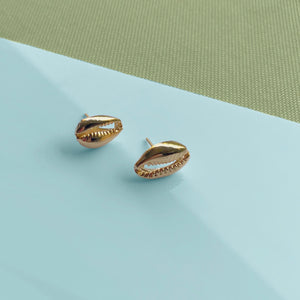 Gold Cowrie Stud Post Earrings