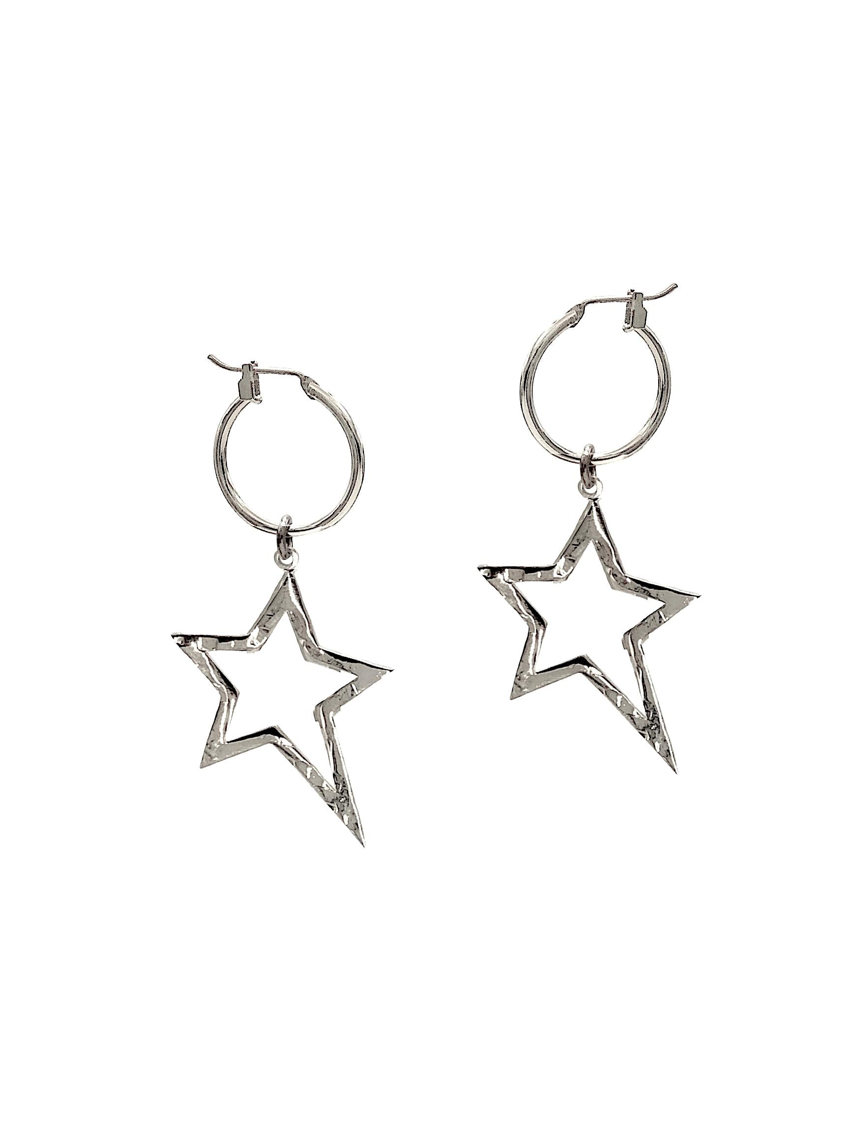 Silver Shooting Star Dust Hoop Earrings-Earrings-JAREDJAMIN Jewelry Online-JAREDJAMIN - Fashion Jewelry & Accessories