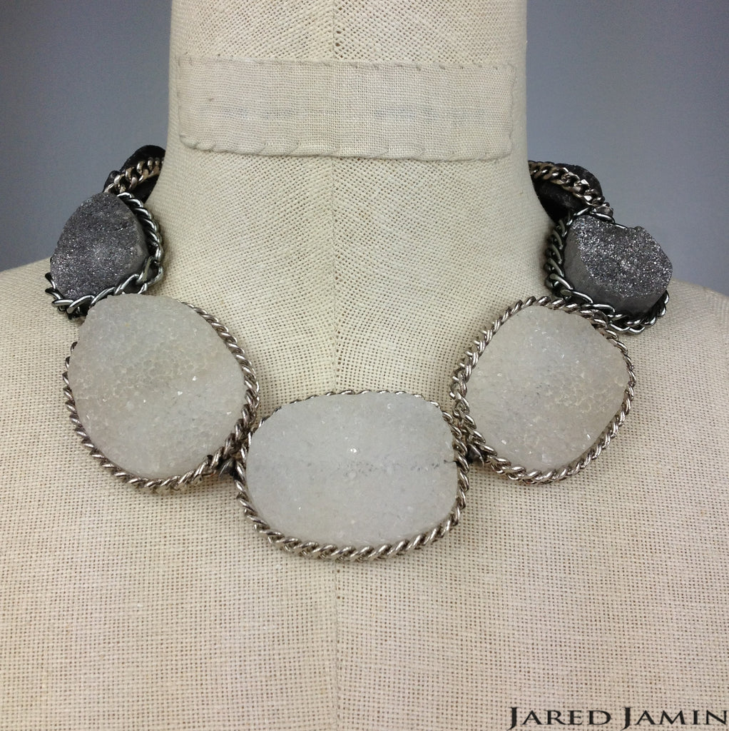 Grey-dient Druzy Stone Necklace, Necklaces, JARED JAMIN
