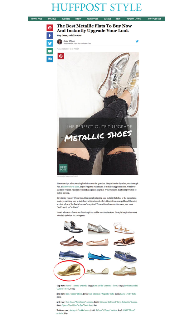 Women's Italian handmade shoes gold metallic chukka boots as featured on Huffington Post by Julee Wilson