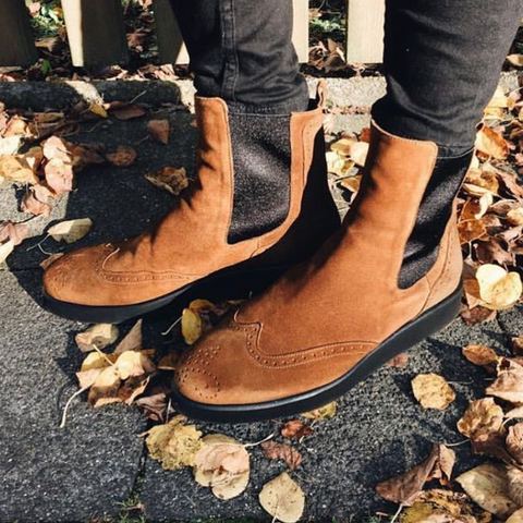 Brown Chelsea Boots on Vibram Soles