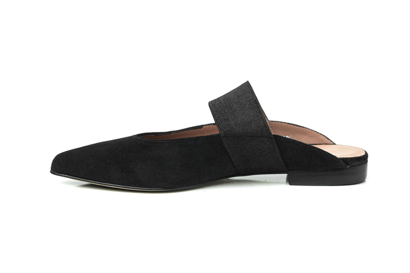 black suede elastic mary jane flat mule shoes for women in extended large wide sizes 9, 10, 11, 12, 13, 14 handmade in Spain inside view
