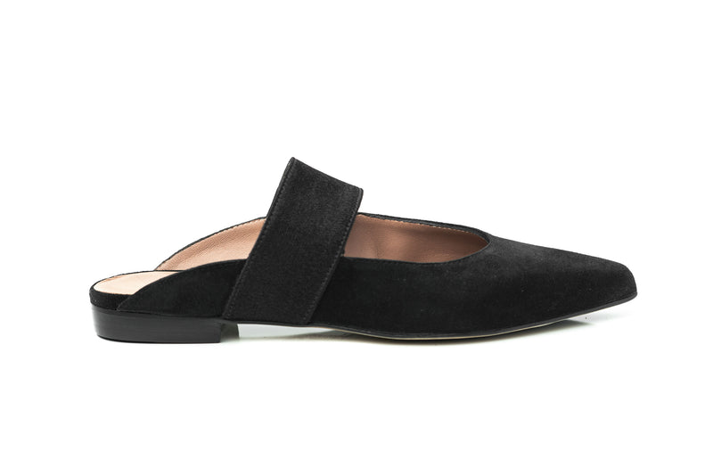 black suede elastic mary jane flat mule wide shoes for women comfortable in extended large sizes 9, 10, 11, 12, 13, 14 handmade in Spain outside view