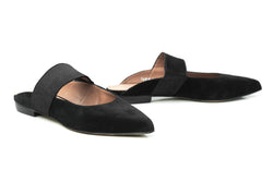 black suede elastic mary jane pointy toe flat mule shoes for women in extended large sizes 9, 10, 11, 12, 13, 14 handmade in Spain main view