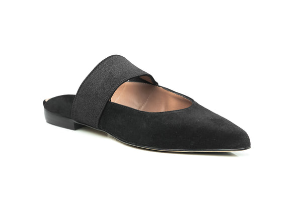 black suede elastic maryjane pointy toe flat mule comfortable shoes for women in extended large sizes 9, 10, 11, 12, 13, 14 handmade in Spain side