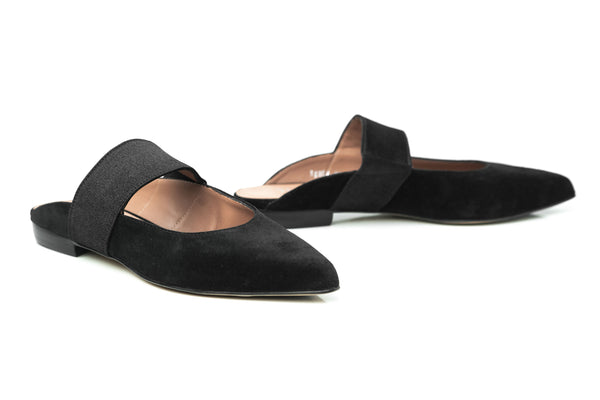 AMANDA - Black Soft Suede Flat Mules Handmade in Spain