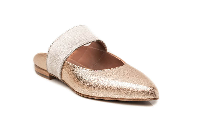 gold metallic leather elastic mary jane flat mule comfortable shoes for women in extended large sizes 9, 10, 11, 12, 13, 14 handmade in Spain side view