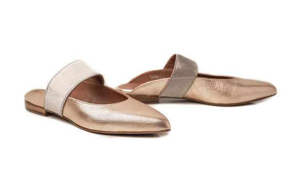 AMANDA - Gold Pebbled Leather Flat Mules Handmade in Spain