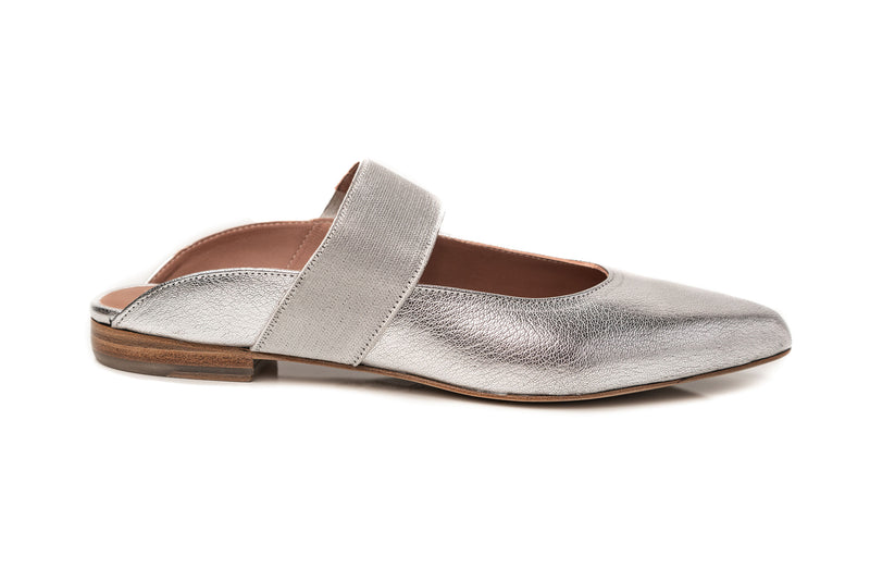 silver pewter metallic leather elastic mary jane flat mule wide shoes for women in extended large sizes 9, 10, 11, 12, 13, 14 handmade in Spain outside view