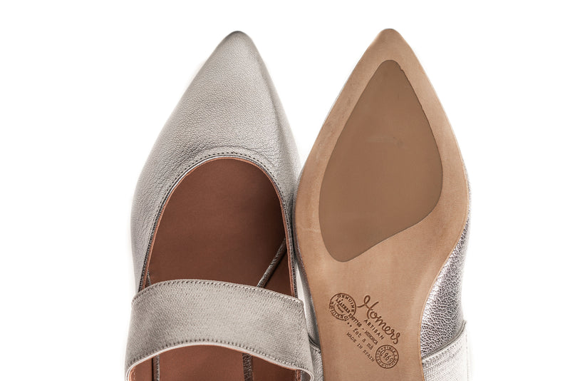 silver pewter metallic leather elastic maryjane wide flat mule shoes for women in extended large sizes 9, 10, 11, 12, 13, 14 handmade in Spain pointy toe view