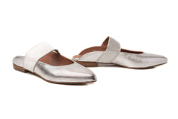 silver pewter metallic leather elastic mary jane flat mule shoes for women in extended large sizes 9, 10, 11, 12, 13, 14 handmade in Spain main view