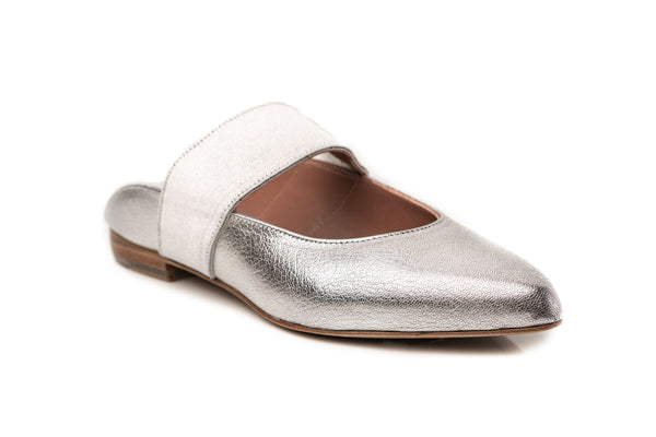 silver pewter metallic leather elastic wide mary jane flat mule shoes for women in extended large sizes 9, 10, 11, 12, 13, 14 handmade in Spain side view
