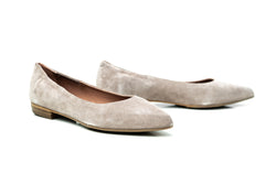 nude suede pointy toe sacchetto flat shoes for women in extended large sizes 9, 10, 11, 12, 13, 14 handmade in Spain main view